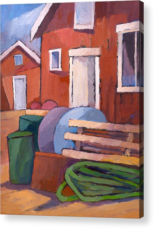 Fishermen Acrylic Print featuring the painting Fishermen Sheds by Lutz Baar