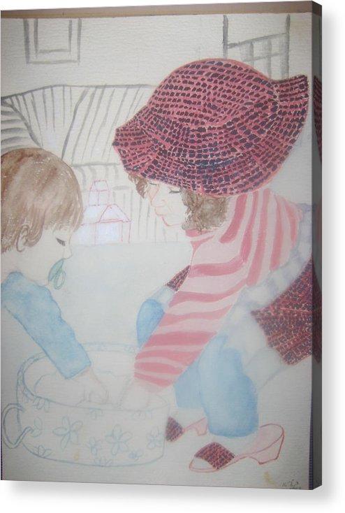 Grandchildren Playing Acrylic Print featuring the drawing Grandchildren Playing by Carla Goodstein