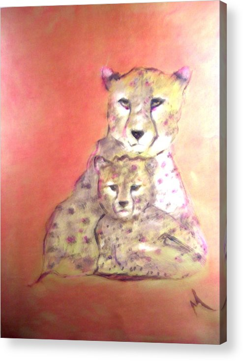 Wildlife Acrylic Print featuring the painting Leopard Love by Michela Akers
