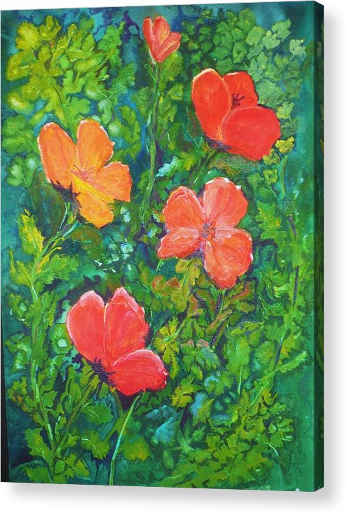 Poppies Acrylic Print featuring the painting Love Those Poppies by Deva Claridge