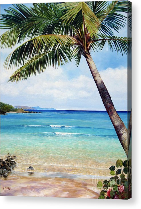 Seascape Acrylic Print featuring the painting Palm Beach by Nancy Isbell