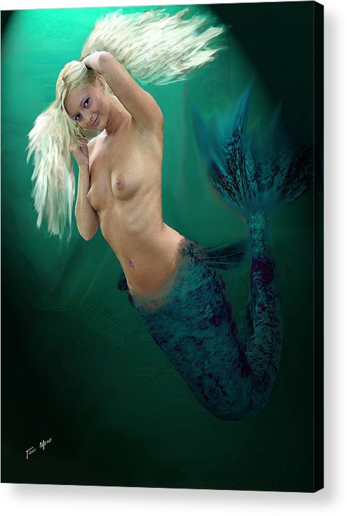 Mermaid Acrylic Print featuring the painting Pretty Blonde by Tray Mead