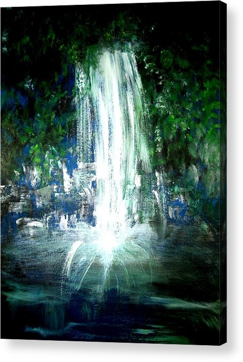 Waterfall Acrylic Print featuring the painting Water Falling by Michela Akers