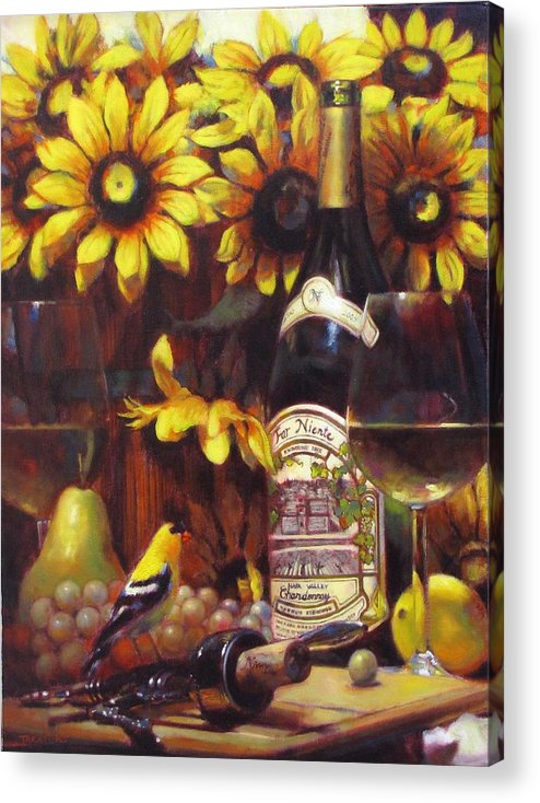 Wine Paintings Acrylic Print featuring the painting White Wine And Gold Finch With Sun Flower by Takayuki Harada