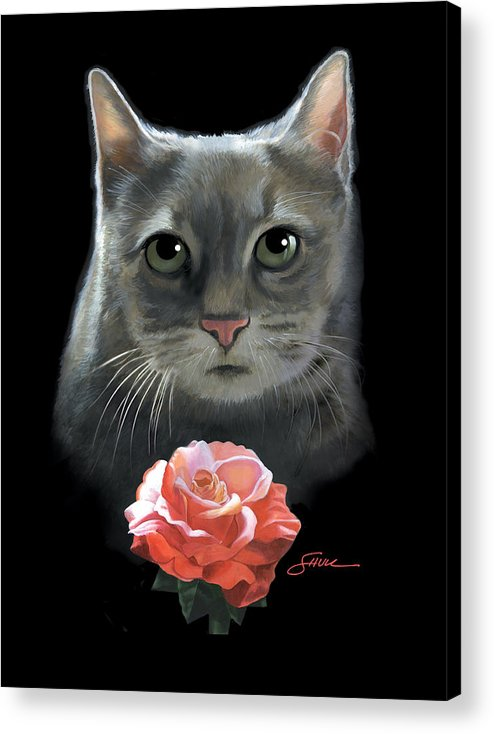#cat Acrylic Print featuring the painting Cleo And The Rose by Harold Shull