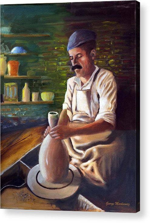 Potter At Work Acrylic Print featuring the print Potter At Work by George Markiewicz