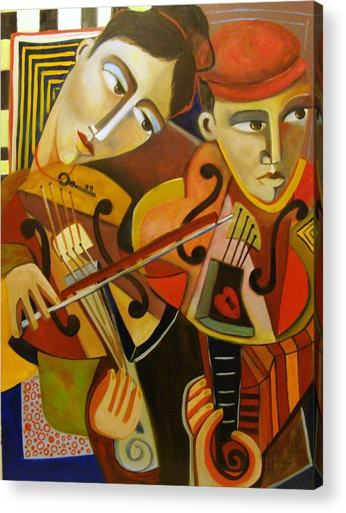 Music Violins Romance Man Woman Acrylic Print featuring the painting Duo Romantico by Niki Sands
