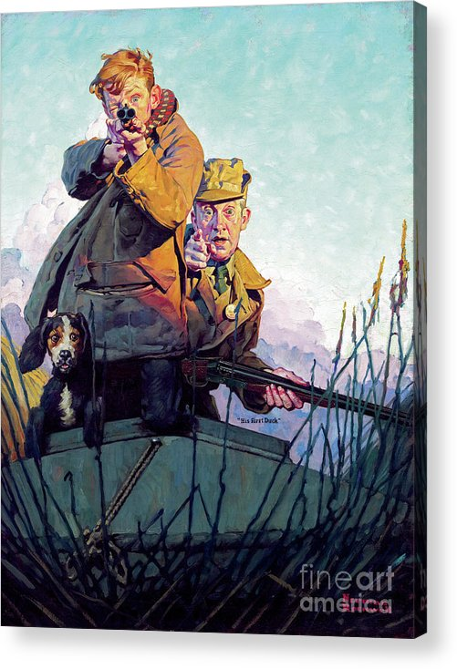 Rockwell Acrylic Print featuring the painting His First Duck by Norman Rockwell