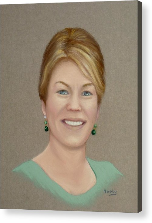 Portrait Acrylic Print featuring the pastel Karen by Pat Neely