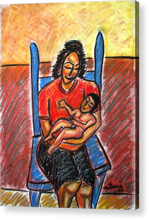 Mother Acrylic Print featuring the painting Mother's Touch by Albert Almondia