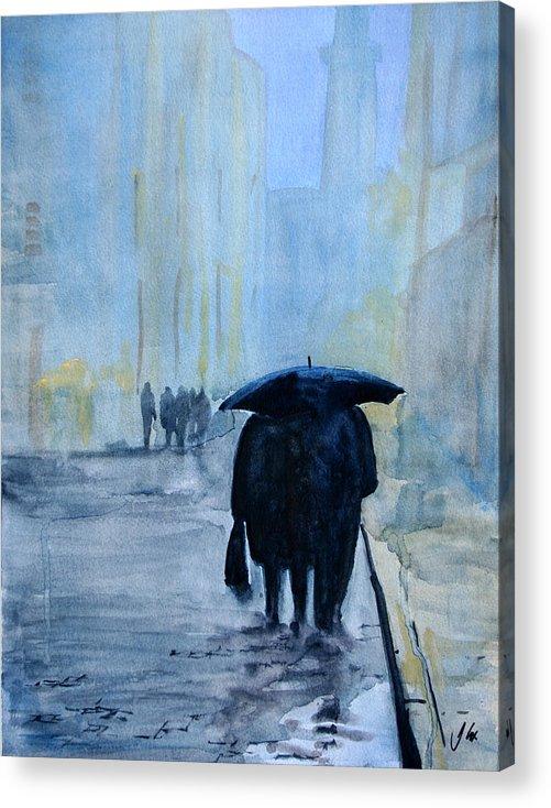 City. Raining. Figure. Evening. Acrylic Print featuring the painting Rainy Evening Walk. by John Cox