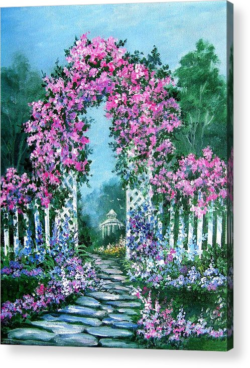 Roses;floral;garden;picket Fence;arch;trellis;garden Walk;flower Garden; Acrylic Print featuring the painting Rose-covered Trellis by Lois Mountz