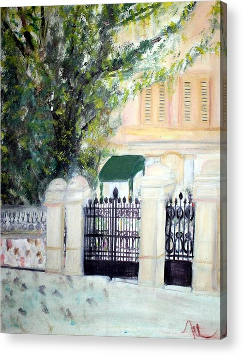 Architecture Acrylic Print featuring the painting The Gatehouse At Villa Mariposa by Michela Akers