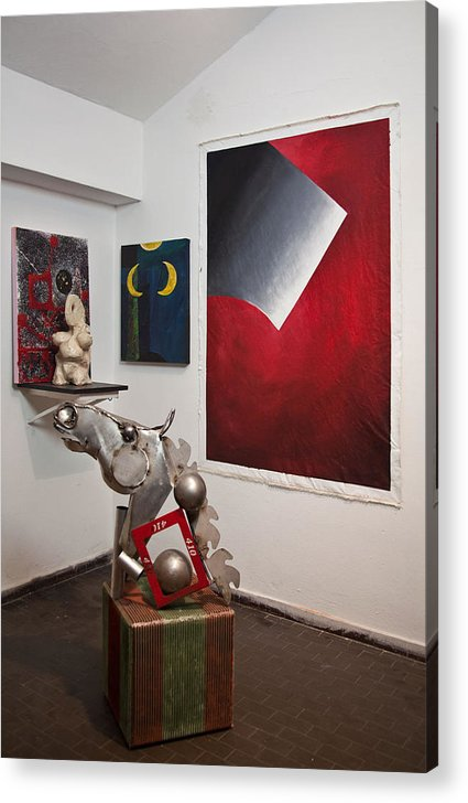 Horse Acrylic Print featuring the painting Artwork In The Space by Lilian Istrati