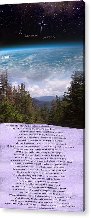 Poetry Acrylic Print featuring the mixed media A Certain Destiny - Poster by Patrick J Maloney