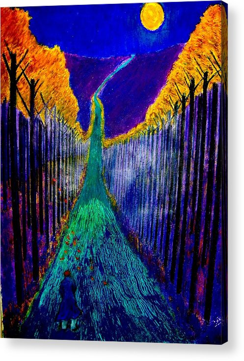Road Acrylic Print featuring the painting Night Train by Kent Whitaker