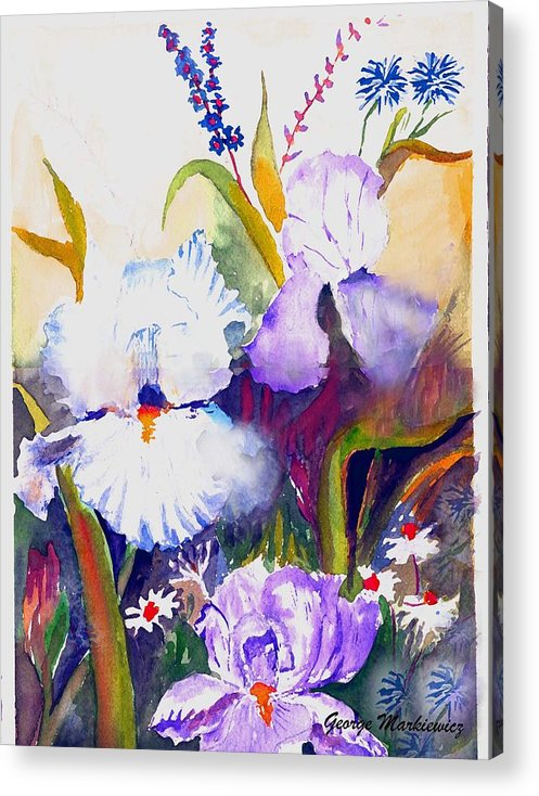 Flowers Acrylic Print featuring the print Iris by George Markiewicz