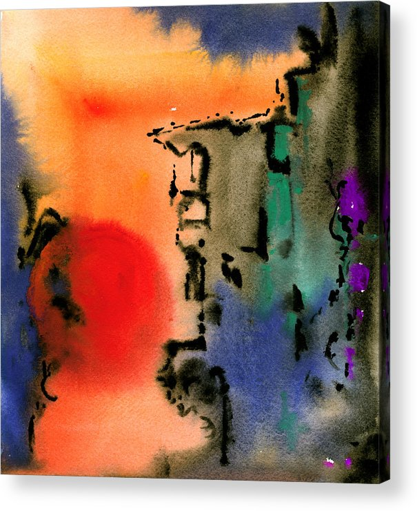 Watercolor Prints Abstract Painting Watercolor Painting Modern Print Contemporary Print Gouache Acrylic Print featuring the painting Sunset At Nikko by Ralf M Broughton