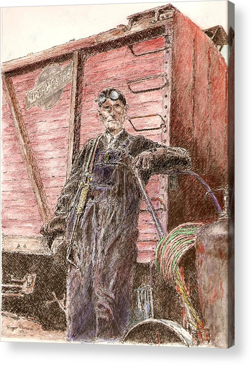 Welder Acrylic Print featuring the painting Welder by Roger Parnow