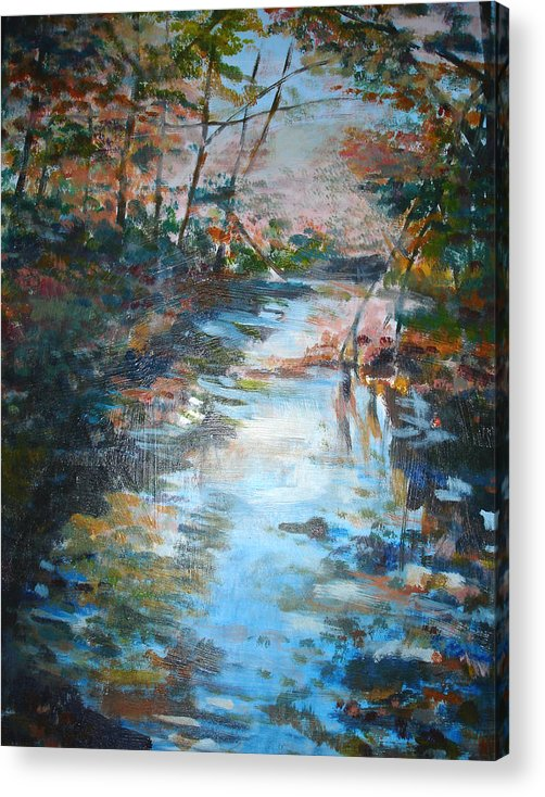 Landscape Acrylic Print featuring the painting Autumn Stream by Joyce Kanyuk