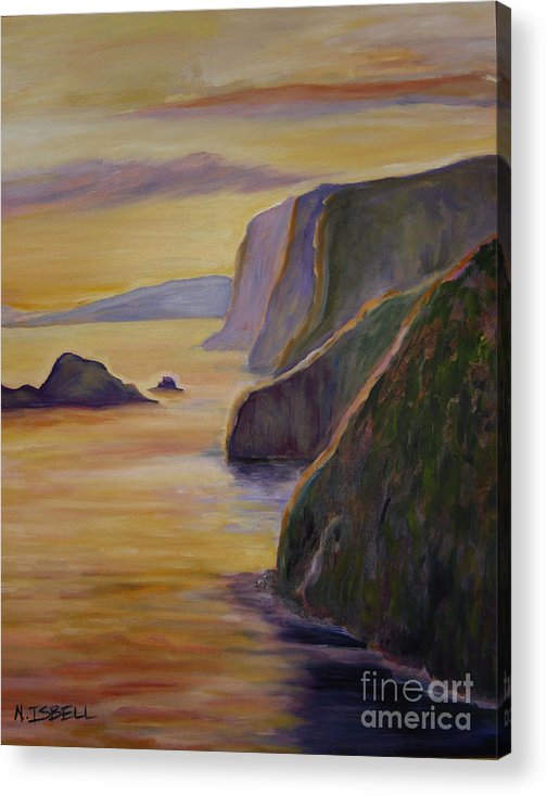 Sunset Acrylic Print featuring the painting Big Island by Nancy Isbell