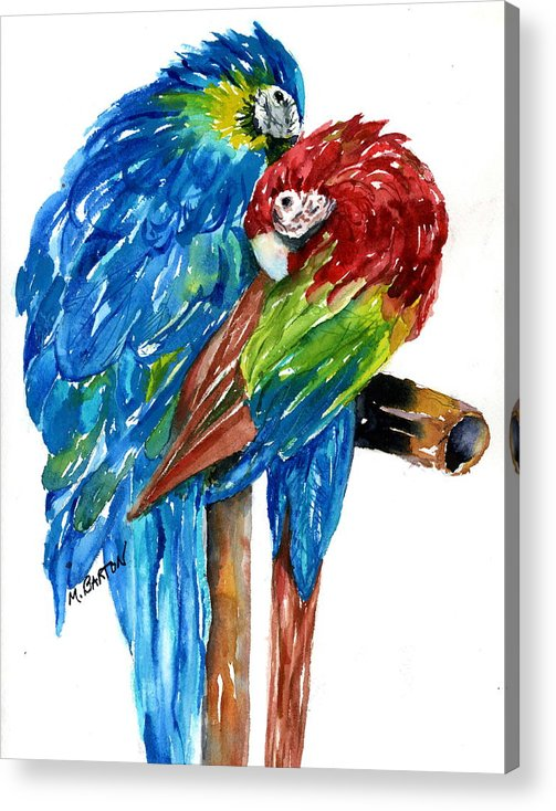 Animal Acrylic Print featuring the painting Birds Of Color by Marilyn Barton