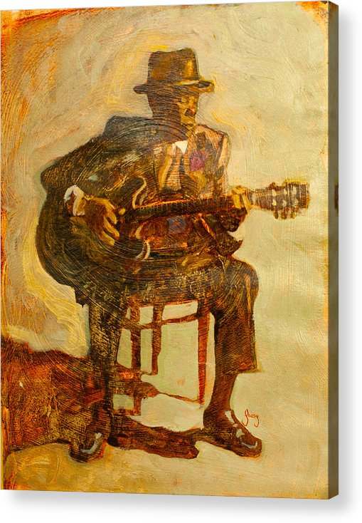 John Lee Hooker Acrylic Print featuring the painting John Lee Hooker by Michael Facey
