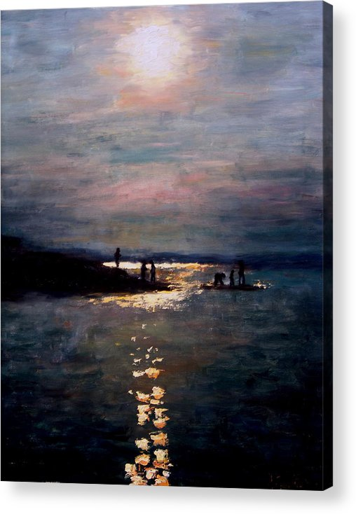 Sunset Acrylic Print featuring the painting Moonlight by Ashlee Comerford
