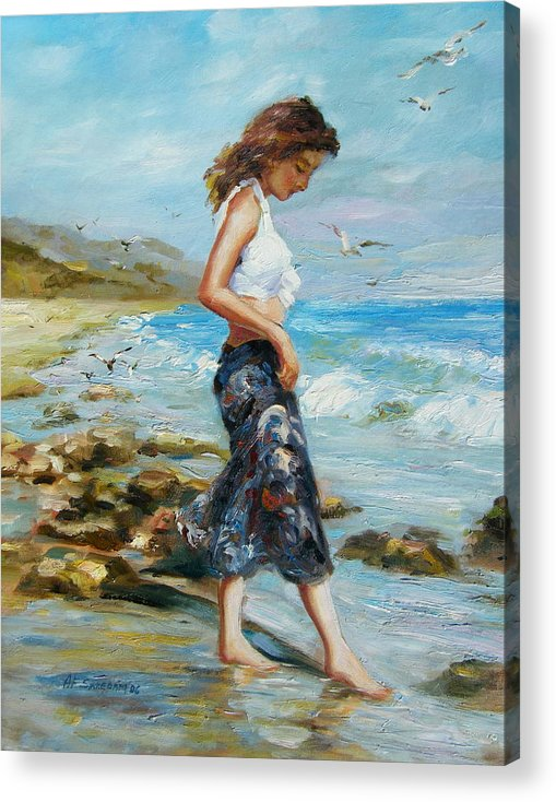 Seascape Acrylic Print featuring the painting Pondering Too by Imagine Art Works Studio