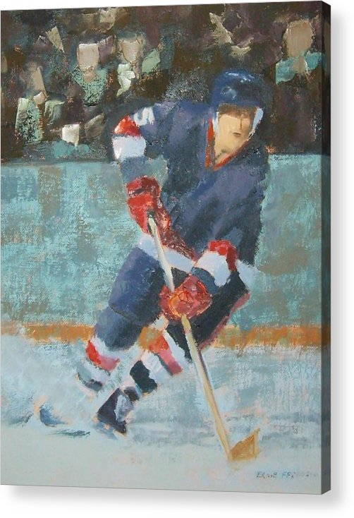 Sports Portrait Acrylic Print featuring the painting The Winger by Ernie Ferguson
