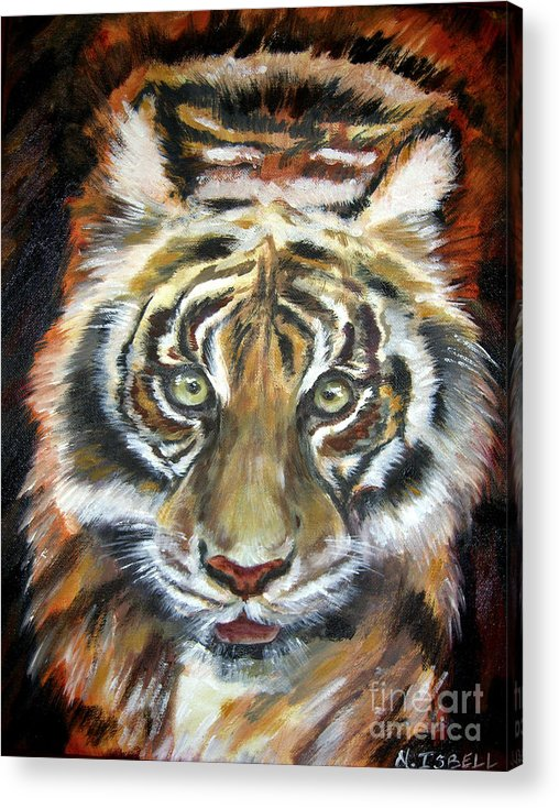 Tiger Acrylic Print featuring the painting Tiger by Nancy Isbell