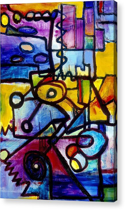 Suburb Acrylic Print featuring the painting Suburbias Daily Beat by Regina Valluzzi