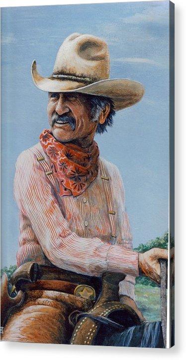 Cowboy Acrylic Print featuring the print Gus by Lee Bowerman