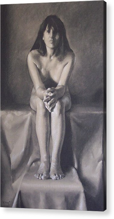 Charcoal Acrylic Print featuring the drawing Hands by Michael Vires