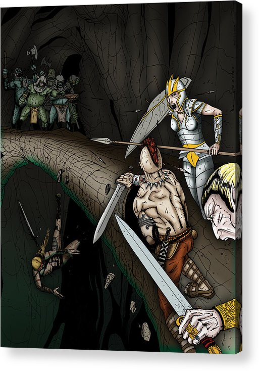 Usherwood Acrylic Print featuring the digital art Battle On The Stone Bridge by James Kramer