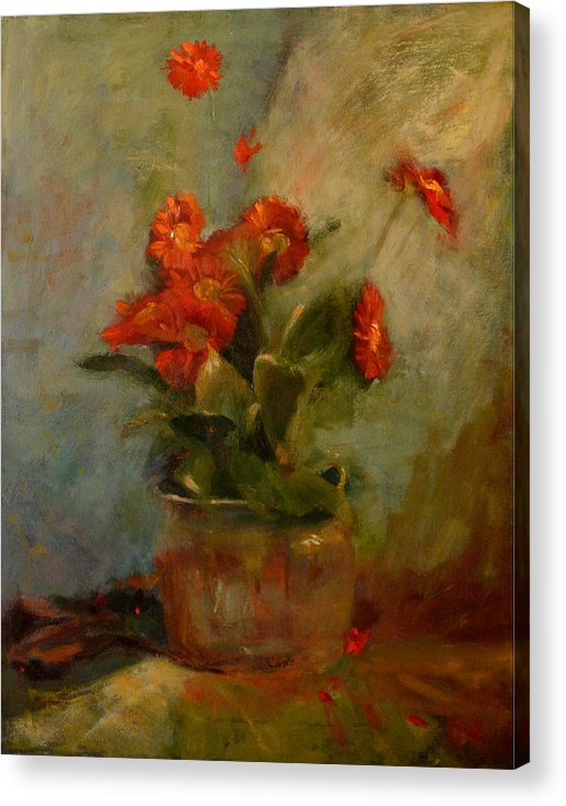 Red Acrylic Print featuring the painting sold Red Gerberas by Irena Jablonski