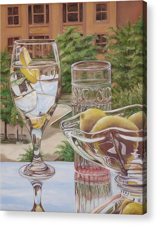 Lemon Acrylic Print featuring the painting View From My Room by Rebecca Graves