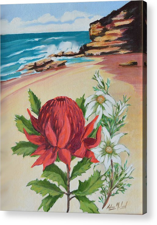 Wildflower Study Acrylic Print featuring the painting Wildflowers And Headland by Aileen McLeod