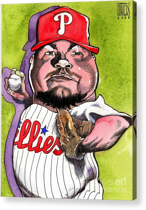 Sports Art Acrylic Print featuring the painting Joe Blanton -phillies by Robert Myers