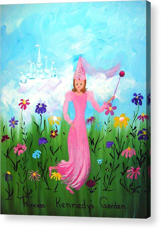 Children Acrylic Print featuring the painting Princess Kennedy's Garden by Sandi Stonebraker