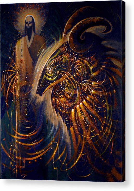 Oil Acrylic Print featuring the digital art The Cernunnos Of Metatron by Stephen Lucas