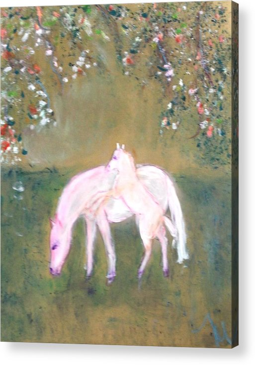 Horses Acrylic Print featuring the painting Young Horses In Spring by Michela Akers