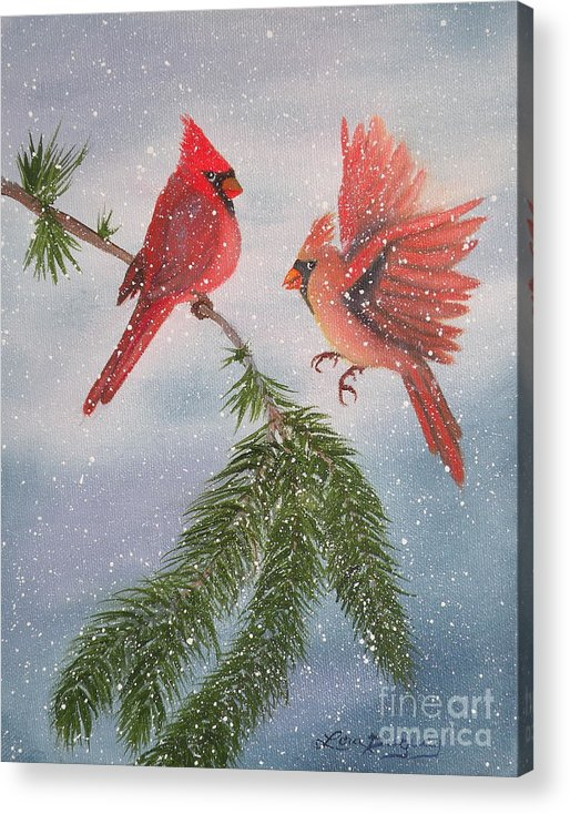 Cardinals Acrylic Print featuring the painting Sweet Pair Of Cardinals by Lora Duguay