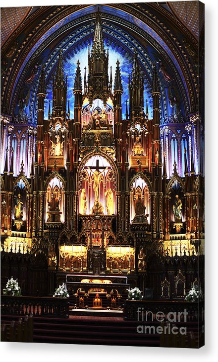 Notre Dame Interior Acrylic Print featuring the photograph Notre Dame Interior by John Rizzuto