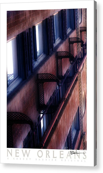 New Orleans Acrylic Print featuring the photograph French Quarter Fire Escape by Robert Baudier