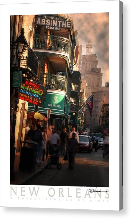 New Orleans Acrylic Print featuring the photograph Bourbon Street New Orleans by Robert Baudier