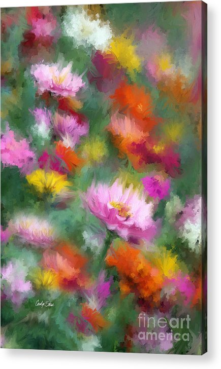 Flowers Zinnias Bright Colorful Garden Impressionist Cubist Acrylic Print featuring the painting Celebration by Carolyn Staut