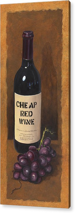 Wine And Grapes Painting Acrylic Print featuring the painting Cheap Red Wine by Terri Meyer
