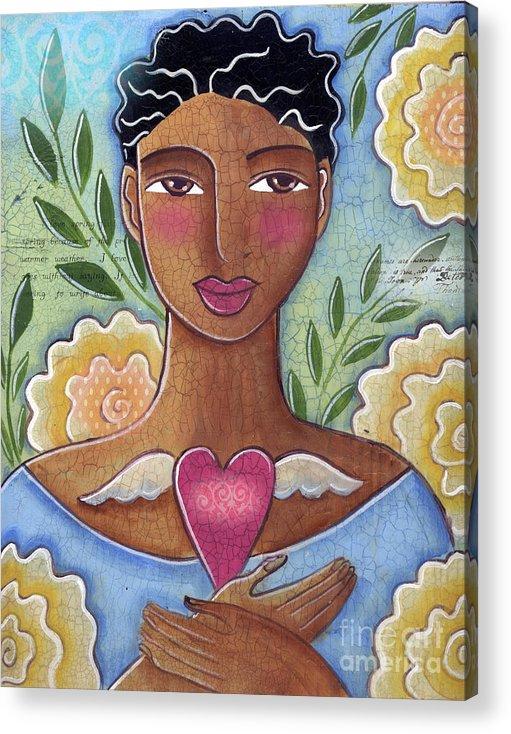 Woman Acrylic Print featuring the mixed media Precious Heart by Elaine Jackson by Elaine Jackson