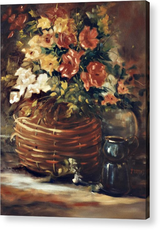 Flowers Acrylic Print featuring the painting An Old Basket with Flowers by Jimmie Trotter